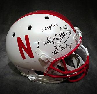 Nebraska Cornhuskers Oklahoma Sooners Tom Osborne Barry Switzer Signed Helmet