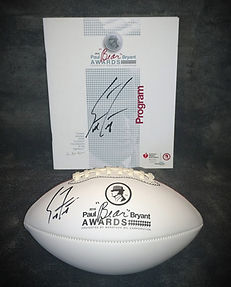 """2018 Paul """"BEAR"""" Bryant Coach of the Year Scott Frost Signed Program and Football"""