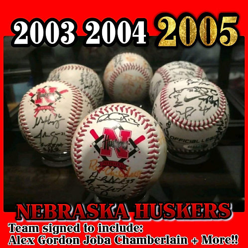 3 Ball Set! 2003 04 2005 Nebraska Cornhuskers Team Signed Baseballs ALEX GORDON