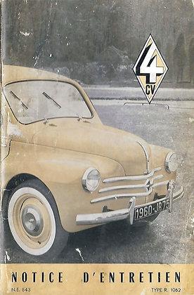 Notice Renault 4cv 1960