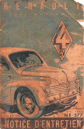 Notice Renault 4cv 1948