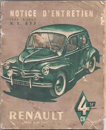 Notice Renault 4cv 1954