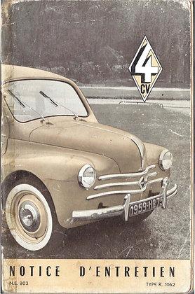Notice Renault 4cv 1959
