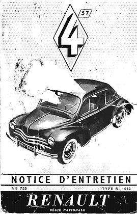 Notice Renault 4cv 1957