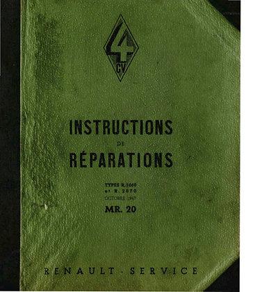 Instructions de réparations professionel pour Renault 4cv