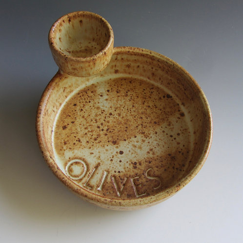 Stoneware Olive Dish