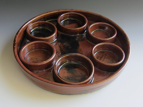 Stoneware Seder Plate or Condiment Plate