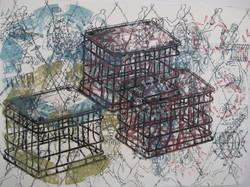 "Three Crates  14x17"""