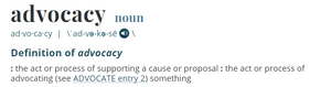 Merriam Webster's Definition of Advocacy
