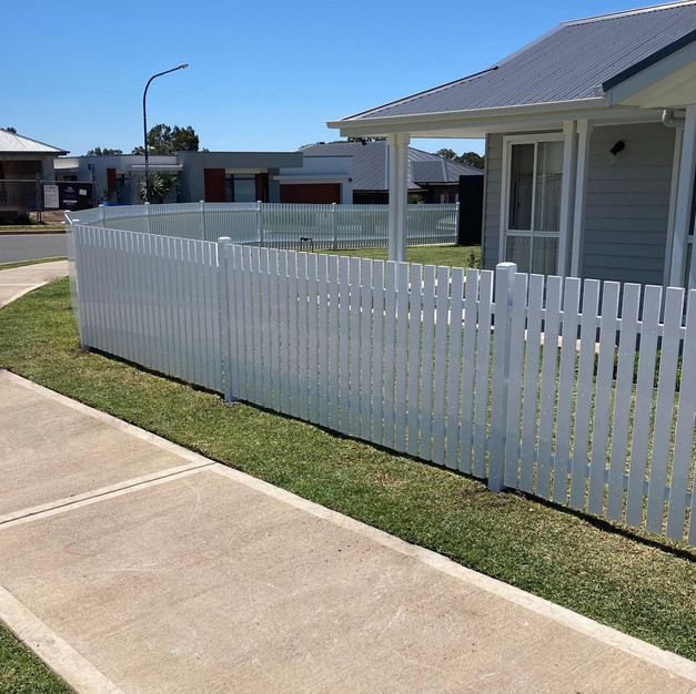 Face Welded Custom Raked Picket Fencing.