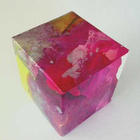 Fuscia Box acrylic ink on yupo 5.5 x 5.5 x 5.5 cm 2017