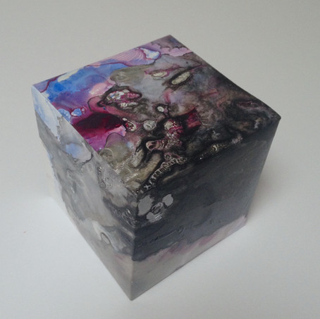 Urban Grunge acrylic, acrylic ink on yupo 8.25 x 8.25 x 8.25 cm 2018