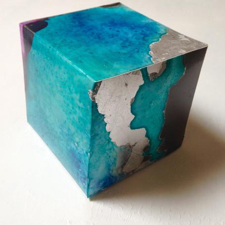 Blue Silence Box acrylic ink, graphite, silver leaf on yupo 7 x 7 x 7 cm 2017