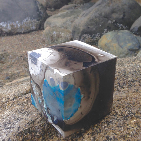 Aqua alcohol ink on yupo 8.25 x 8.25 x 8.25 cm 2018