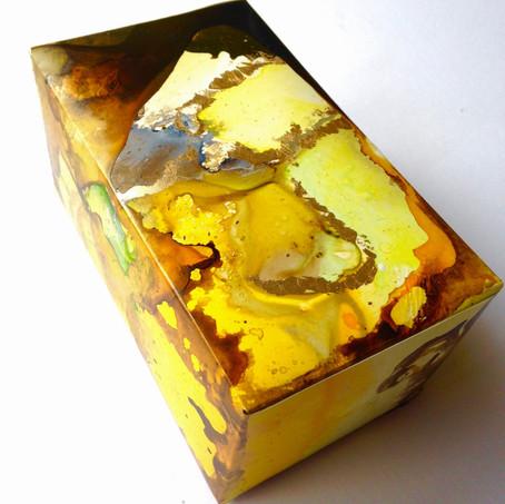 Mystery Box acrylic ink + gold leaf on yupo 14 x 8.5 x 7 cm 2017