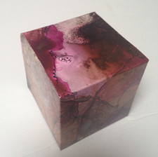 Pink Froth acrylic ink on yupo 7 x 7 x 7 cm 2018