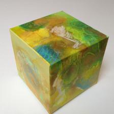 Lush Box acrylic, acrylic ink, pastel on watercolour paper 9 x 9 x 9 cm 2018