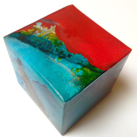Red Tide acrylic ink on yupo 5.5 x 5.5 x 5.5 cm 2017