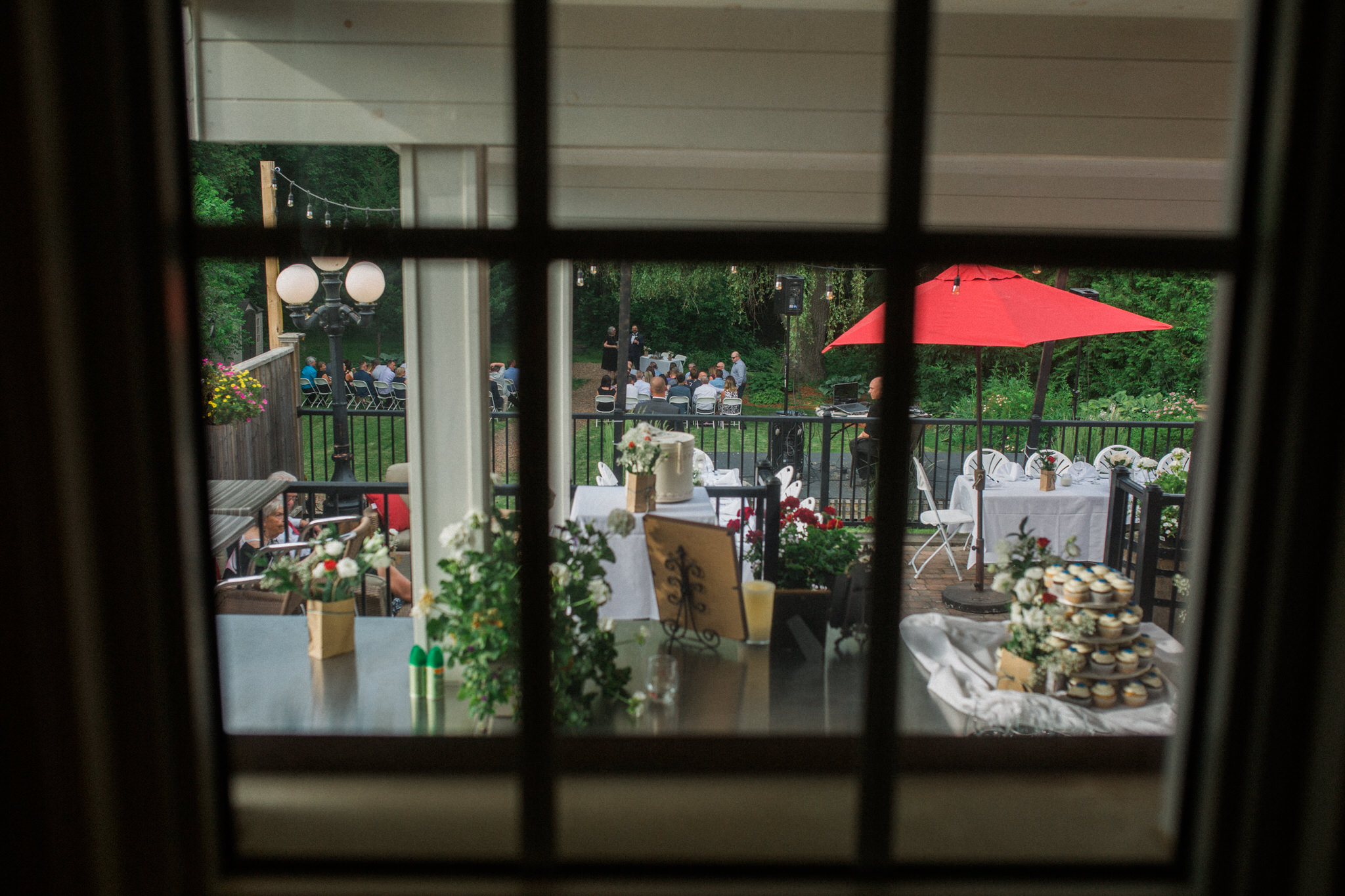 Harvest Restaurant Wedding Brooklin Ontario - view of the ceremony from inside the restaurant