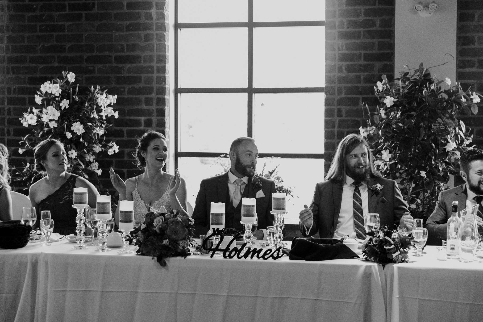 Brock Street Brewery Wedding - speech reactions