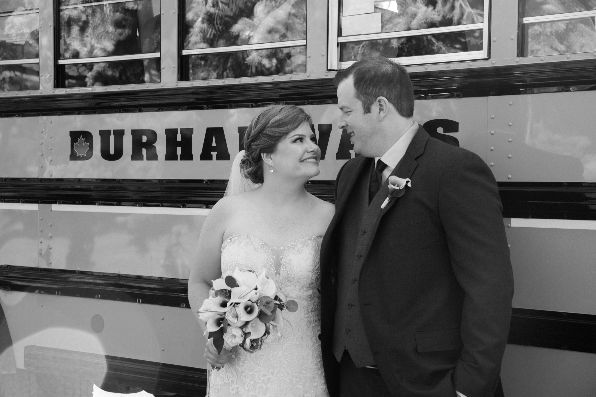 Brock Street Brewing Co. Wedding - bride and groom teacher portraits