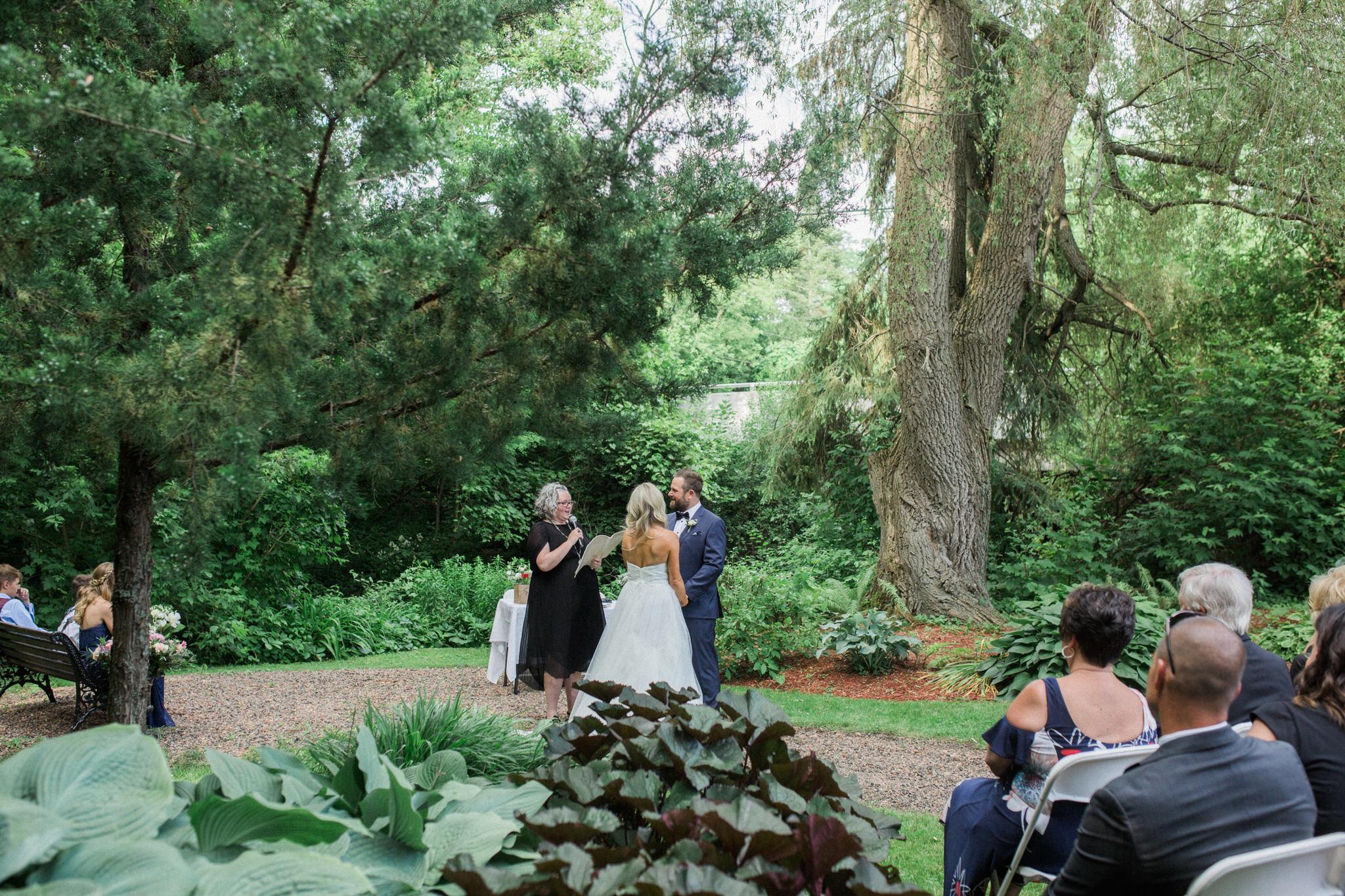 Harvest Restaurant Wedding Brooklin Ontario - Bride and groom during the outdoor ceremony