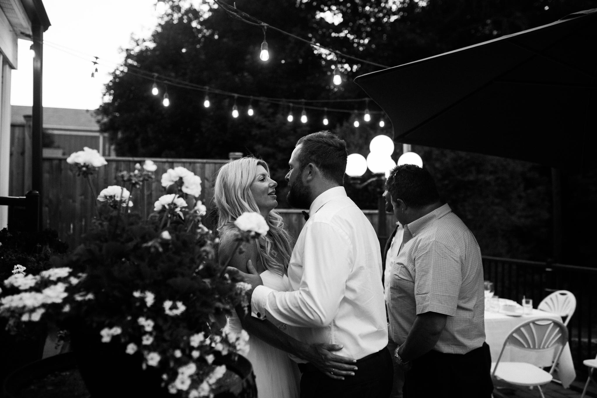 Harvest Restaurant Wedding Brooklin Ontario - Bride and groom dancing on the patio