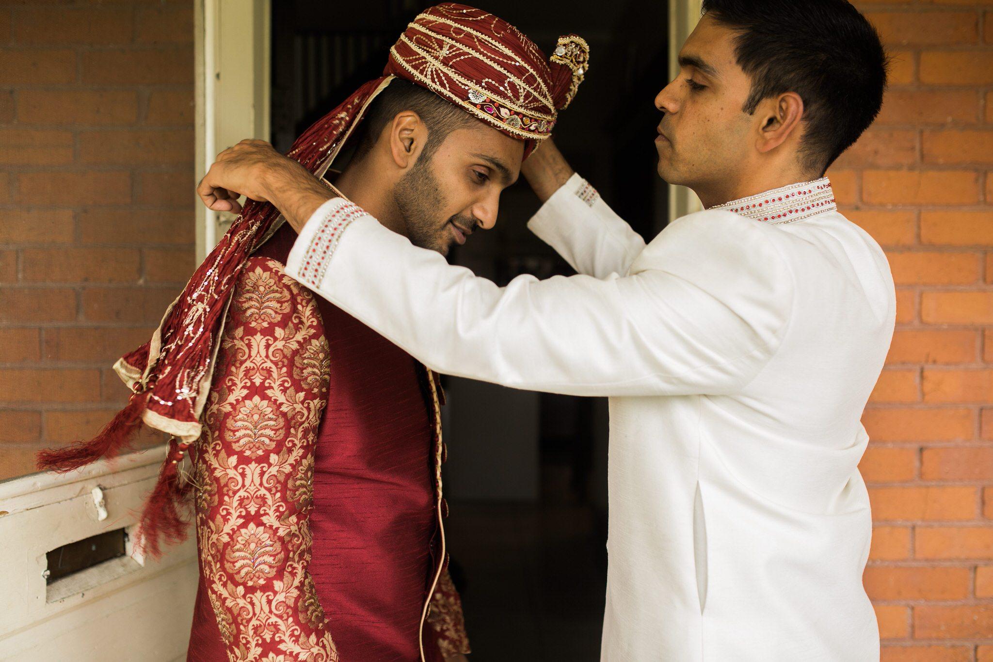 Northview Gardens Wedding - dressing the groom