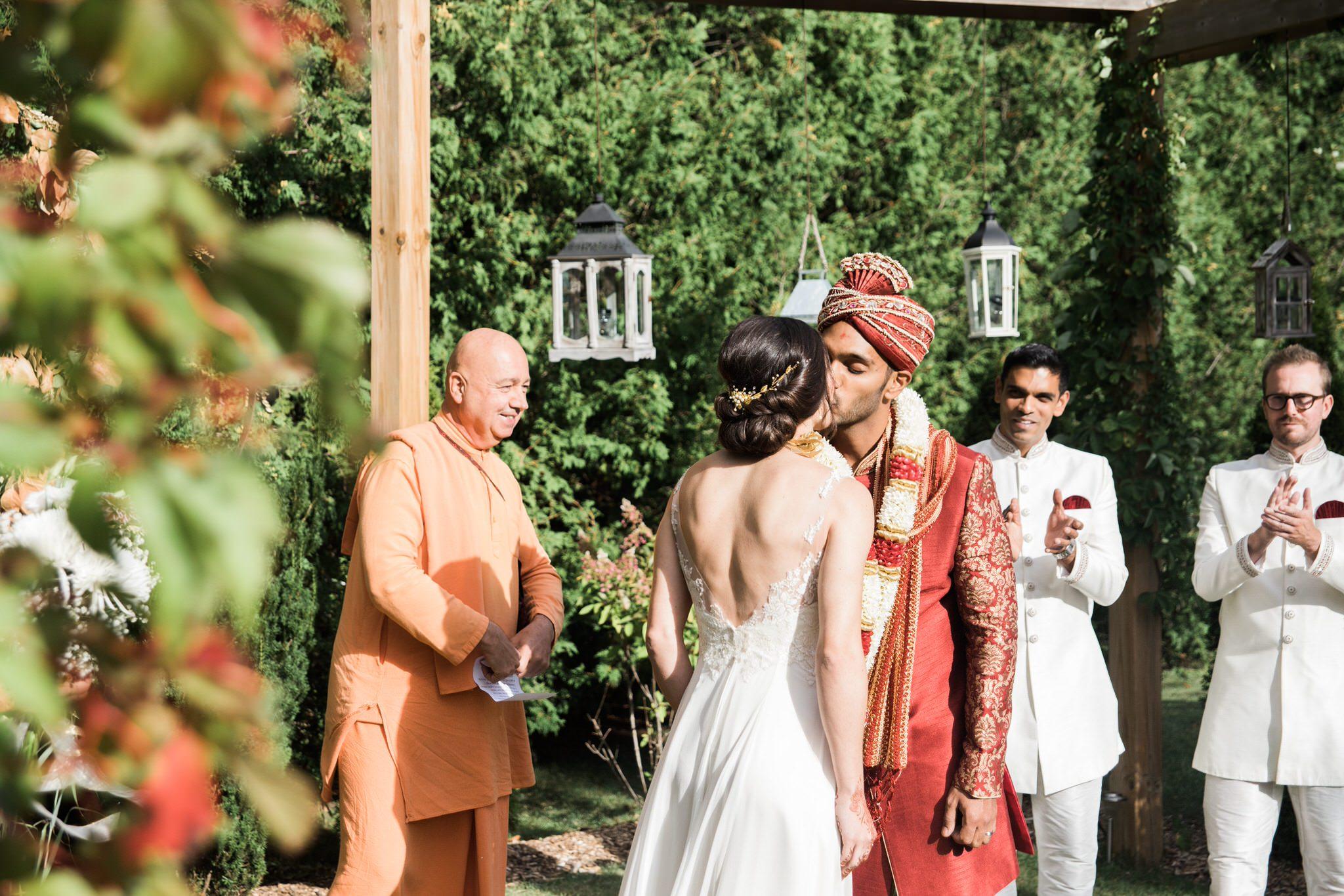 Northview Gardens Wedding - first kiss