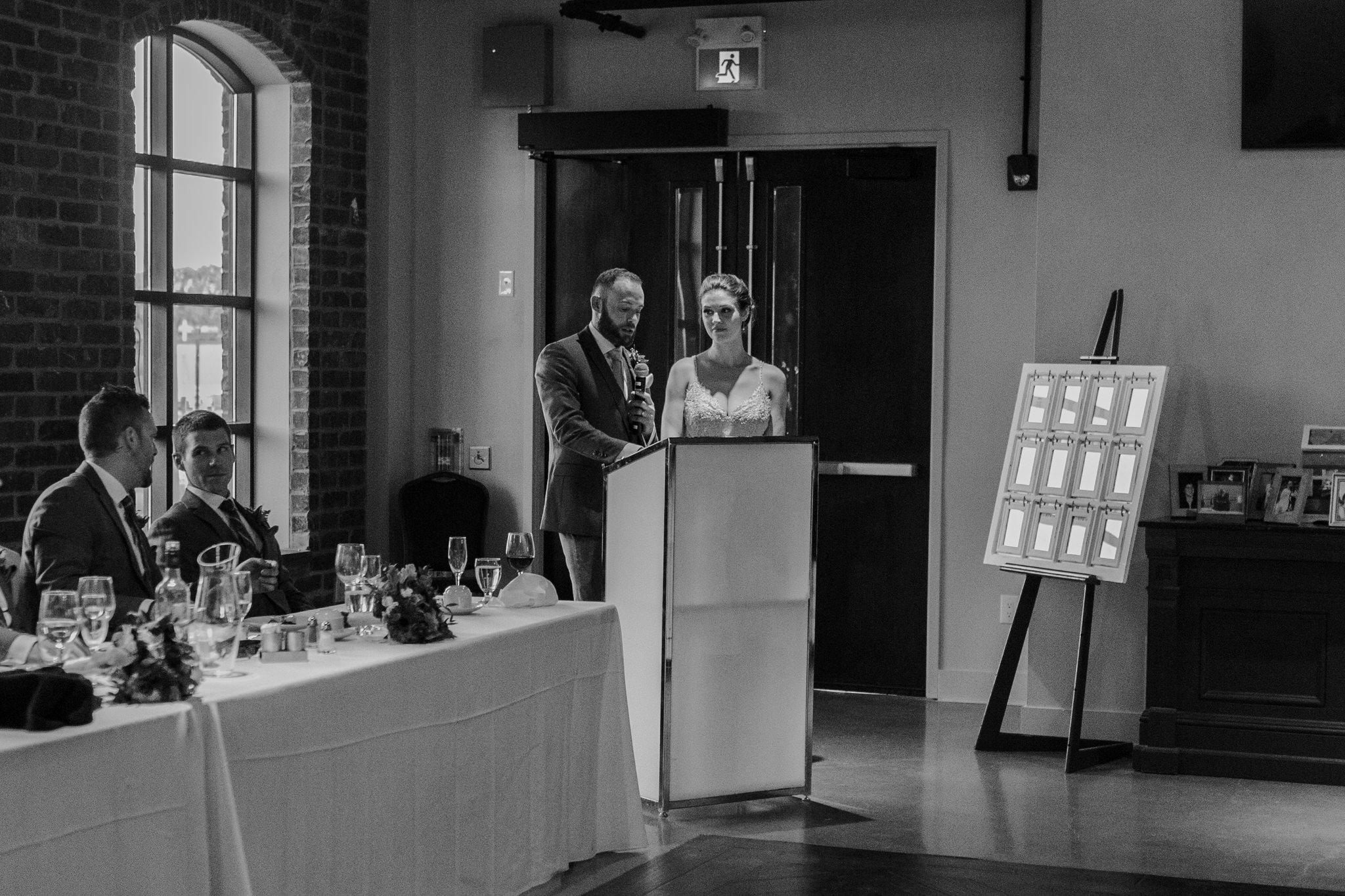 Brock Street Brewery Wedding - bride and groom speech