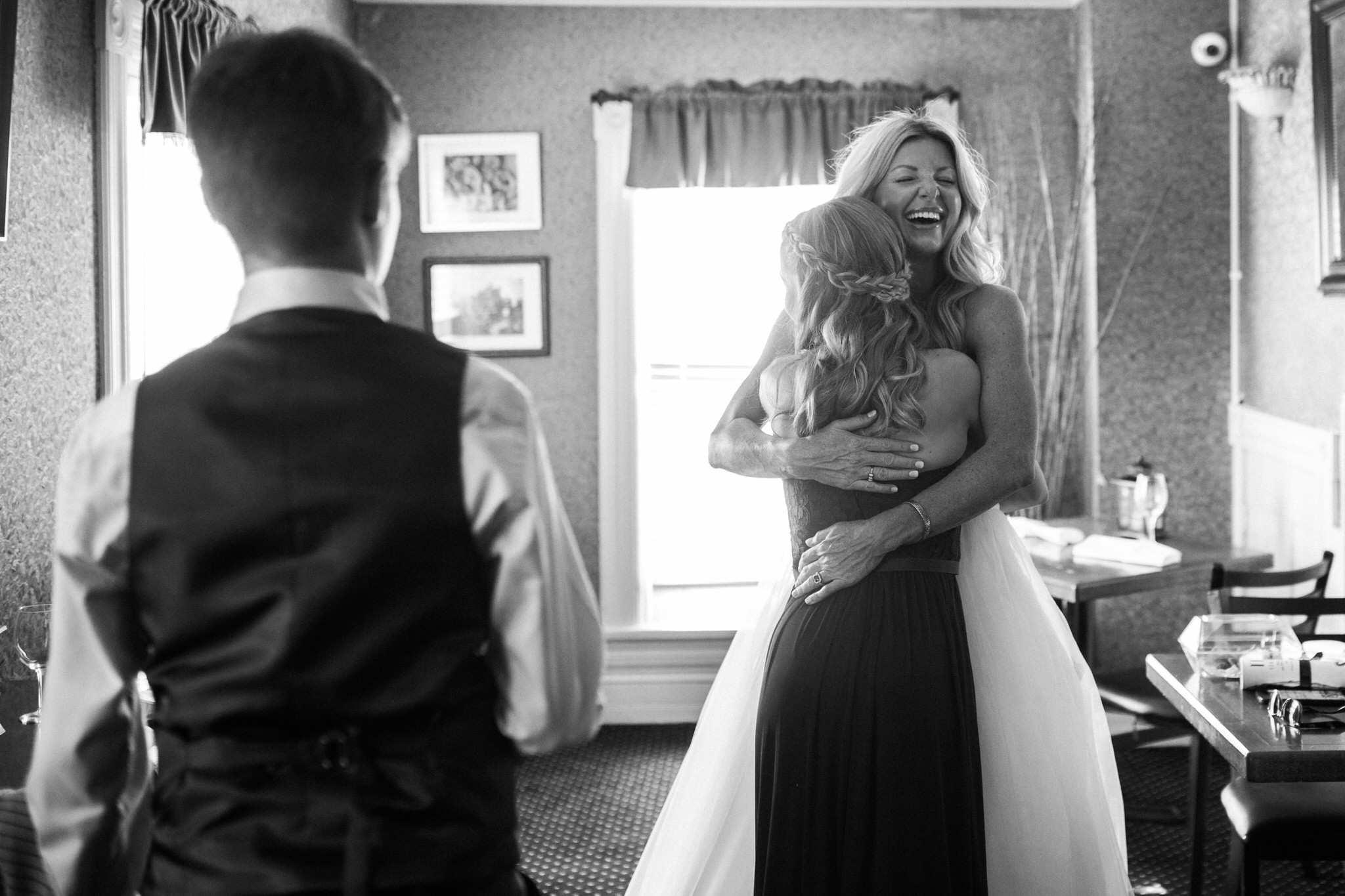 Harvest Restaurant Wedding Brooklin Ontario - Bride and daughter hugging