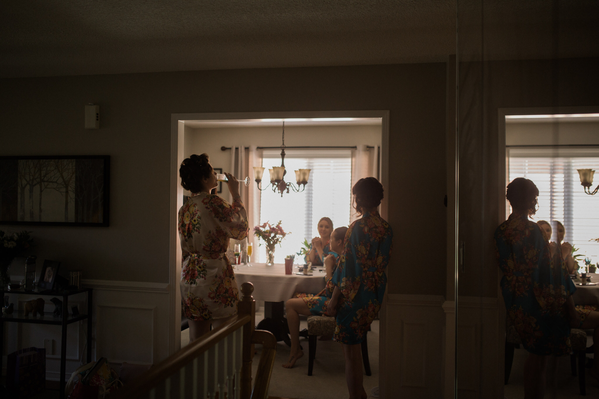Whitby Wedding Photographer Carol Poitras - champagne getting ready