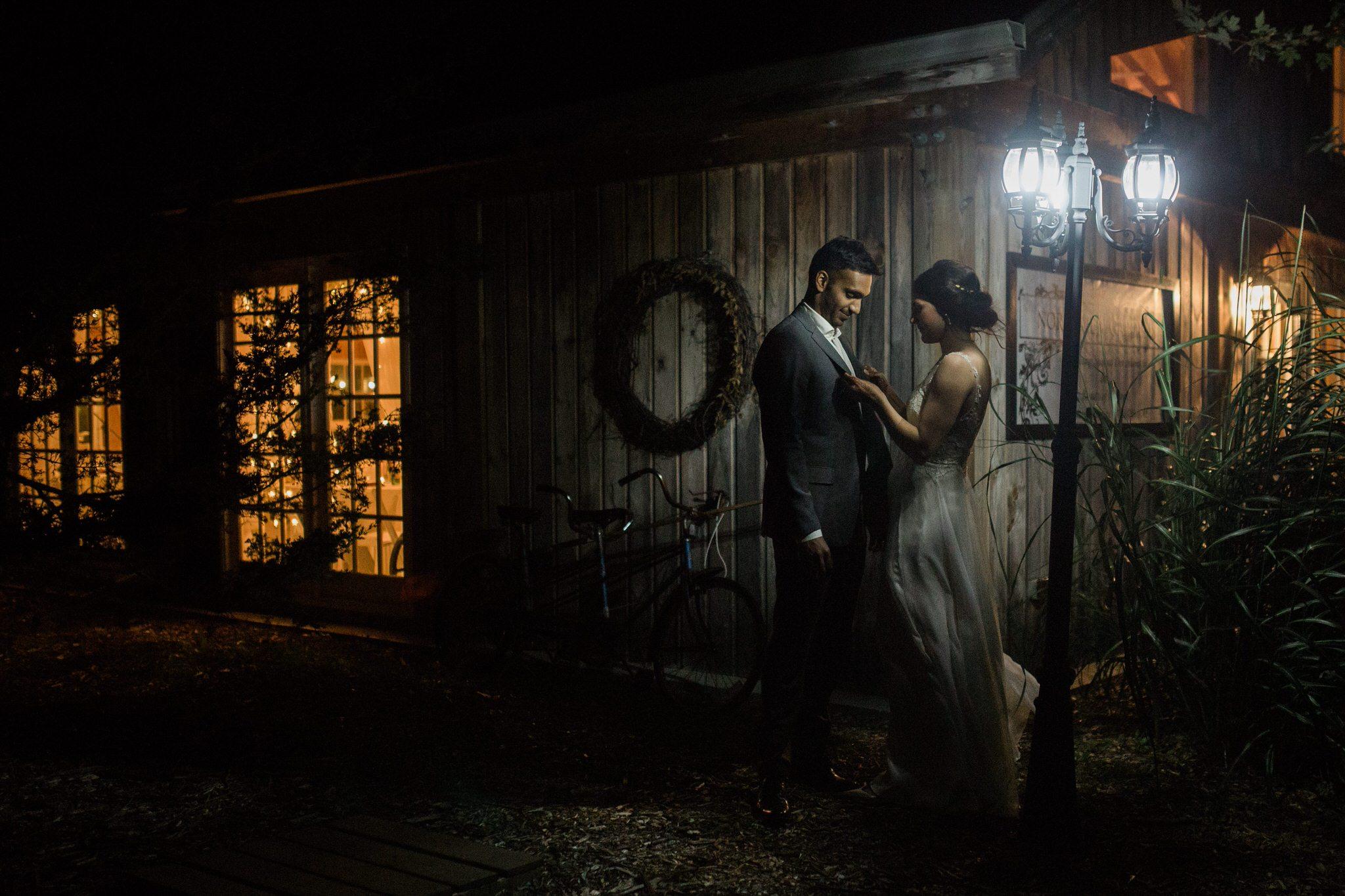 Northview Gardens Wedding - bride and groom night portrait