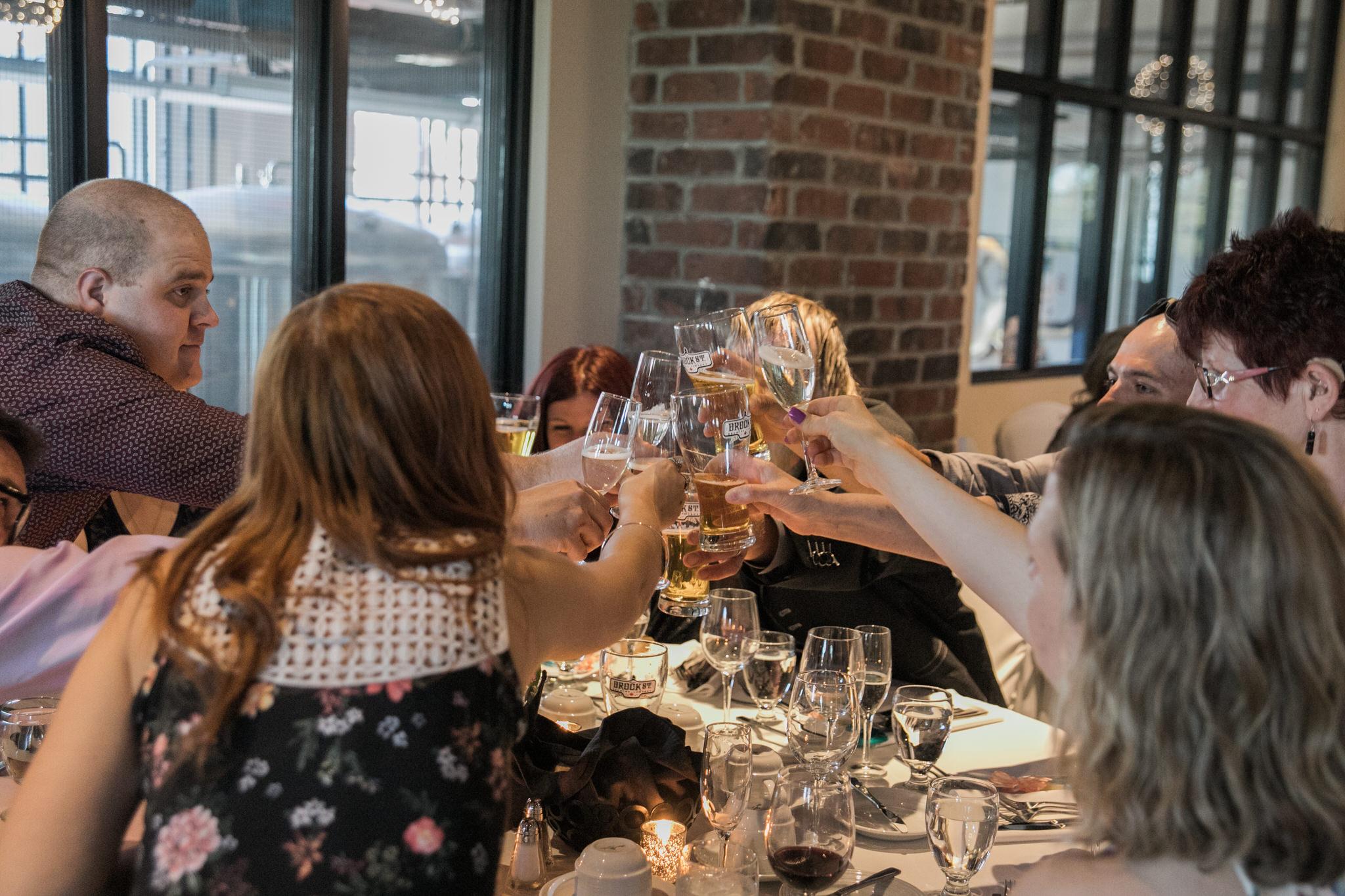 Brock Street Brewery Wedding - cheers