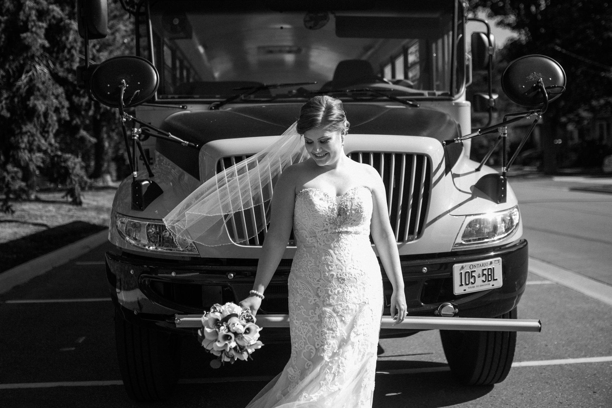 Brock Street Brewing Co. Wedding - bride's veil blowing in the wind