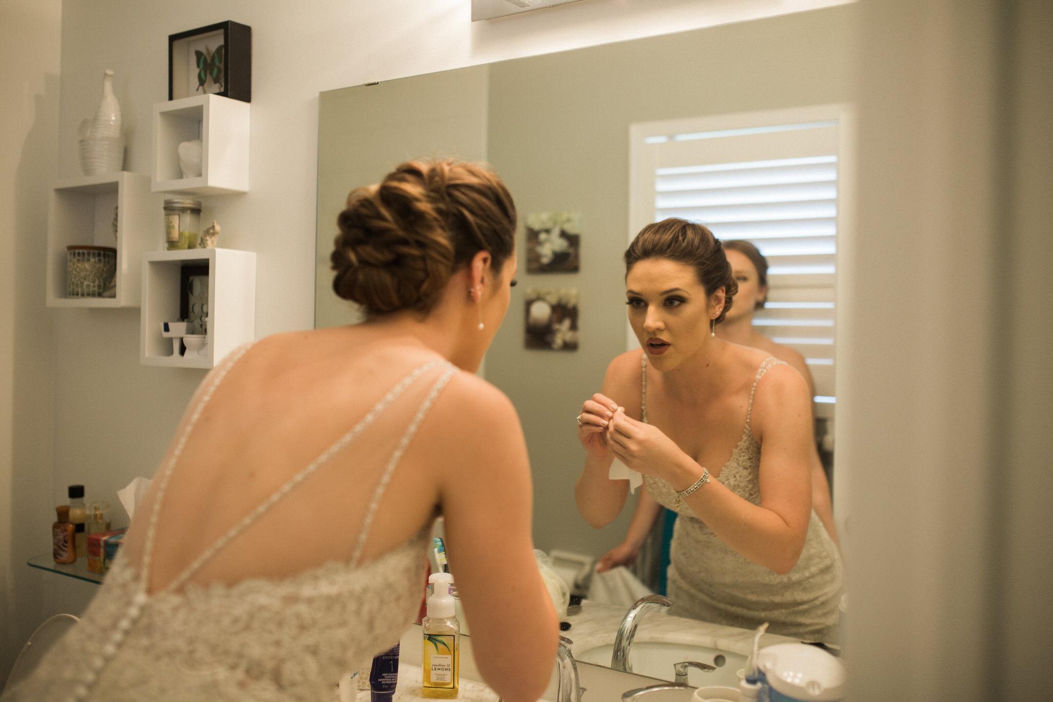 Whitby Documentary Wedding Photographer Carol Poitras - bride in mirror