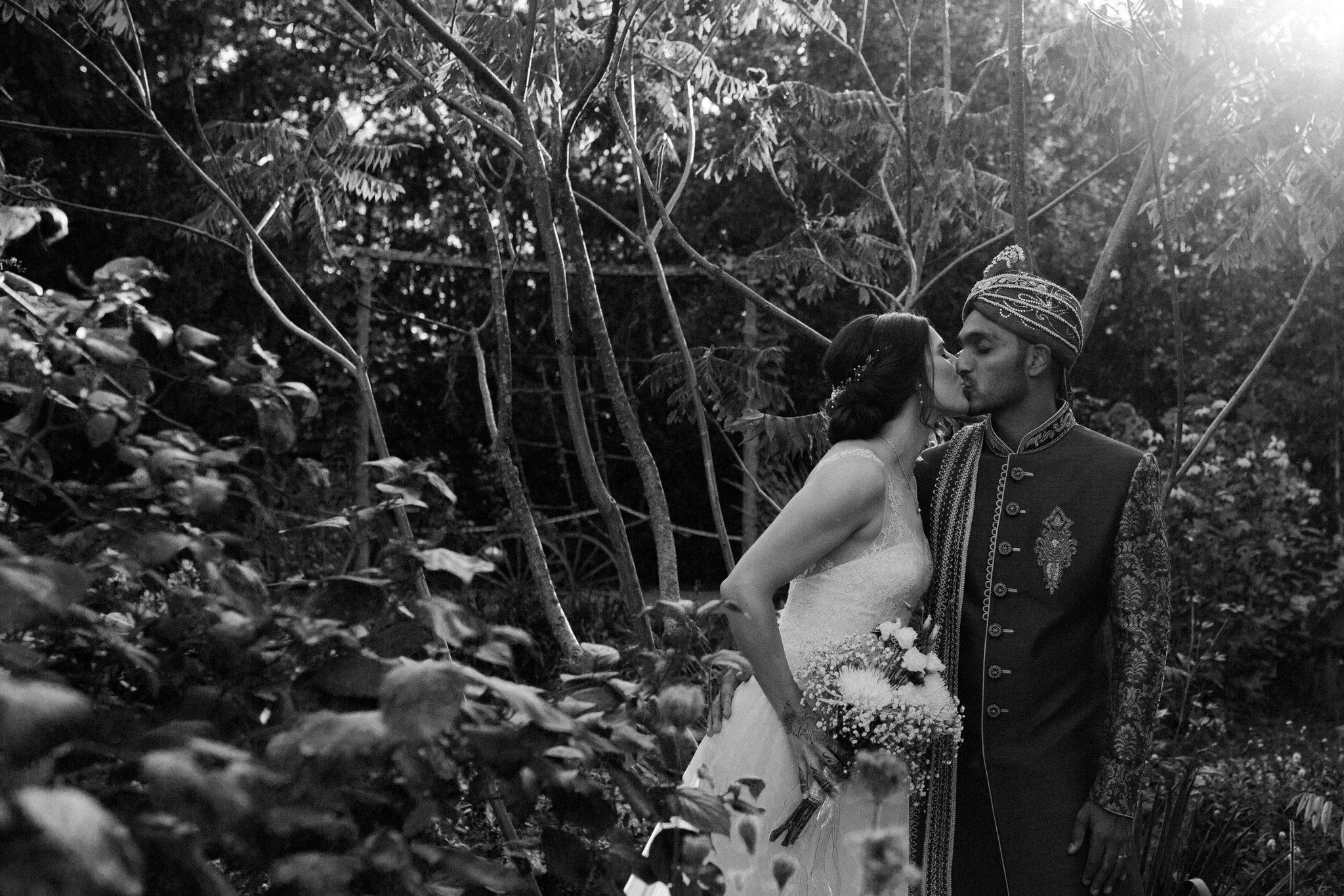 Northview Gardens Wedding - bride and groom kiss - hindu wedding