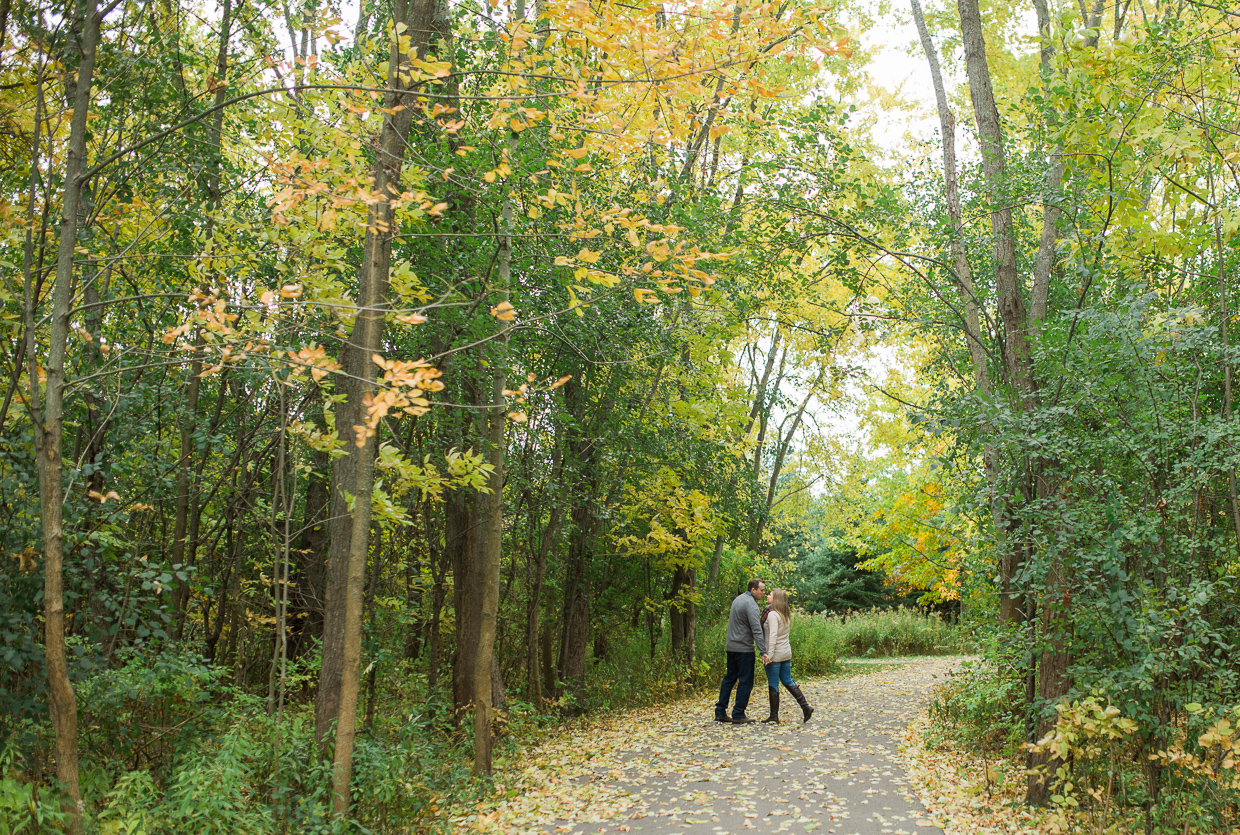 Lynde Shores Engagement - kissing in the forest