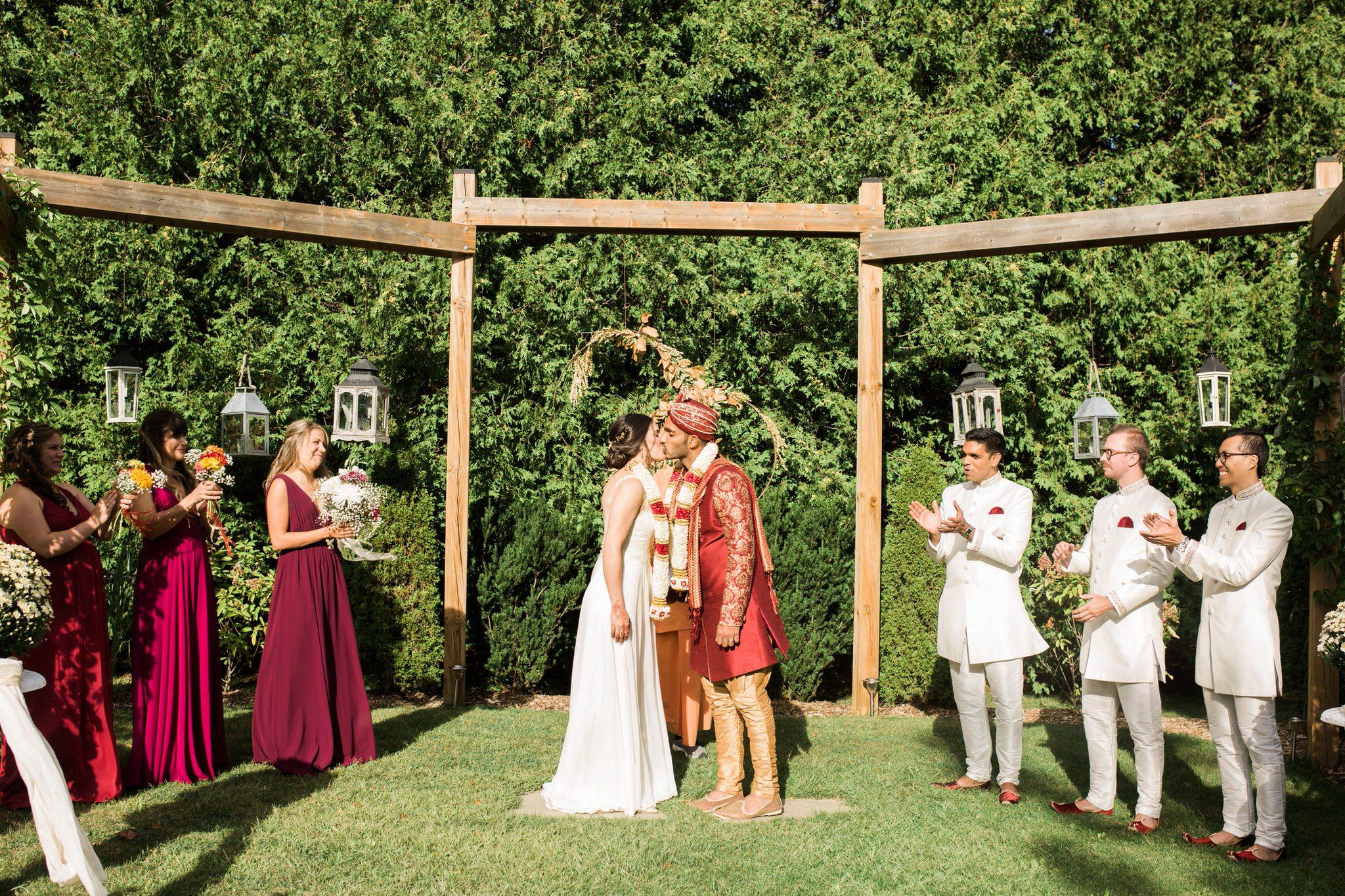 Northview Gardens Wedding - newlyweds kiss