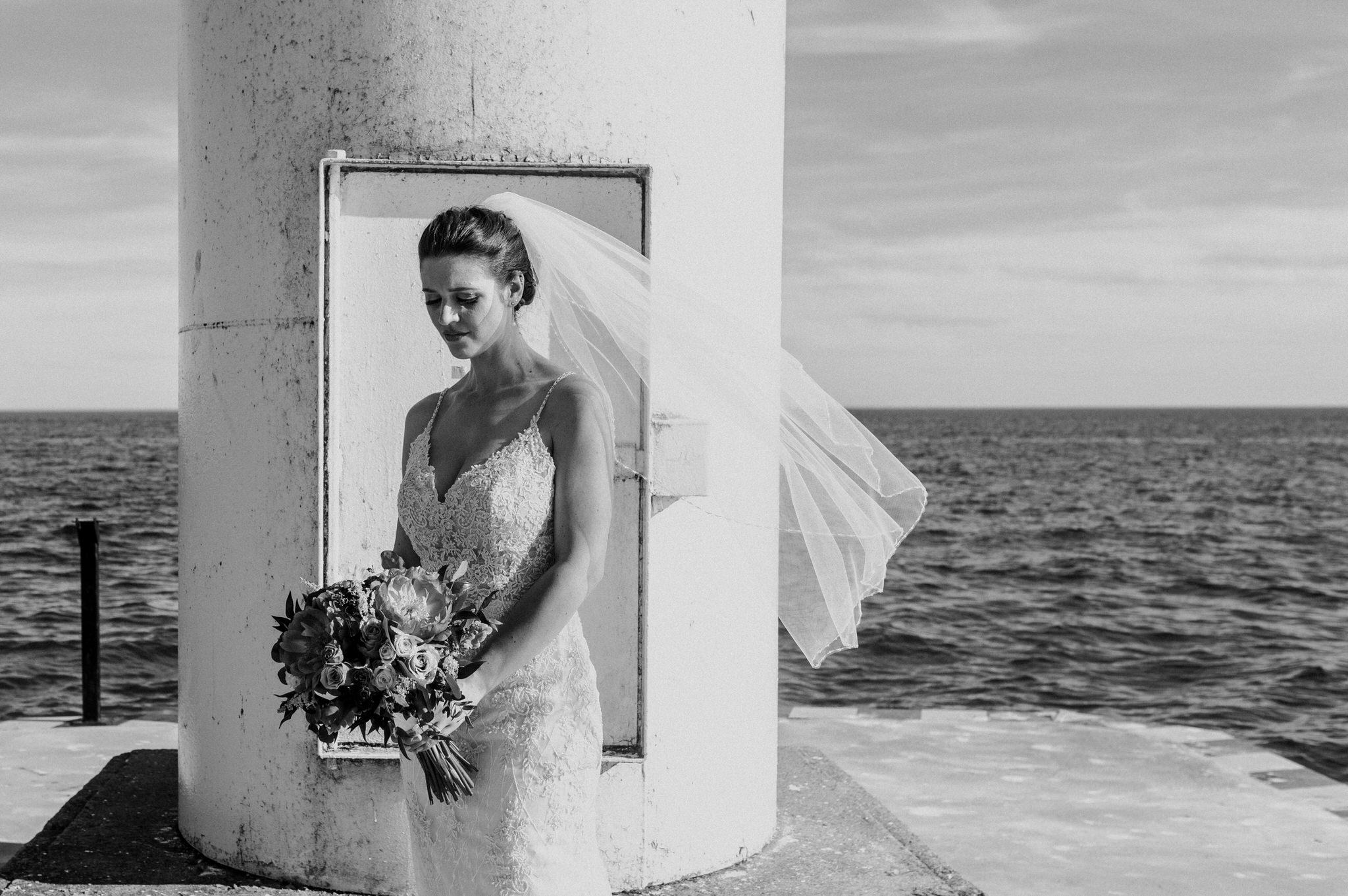 Brock Street Brewery Wedding - bride on the pier