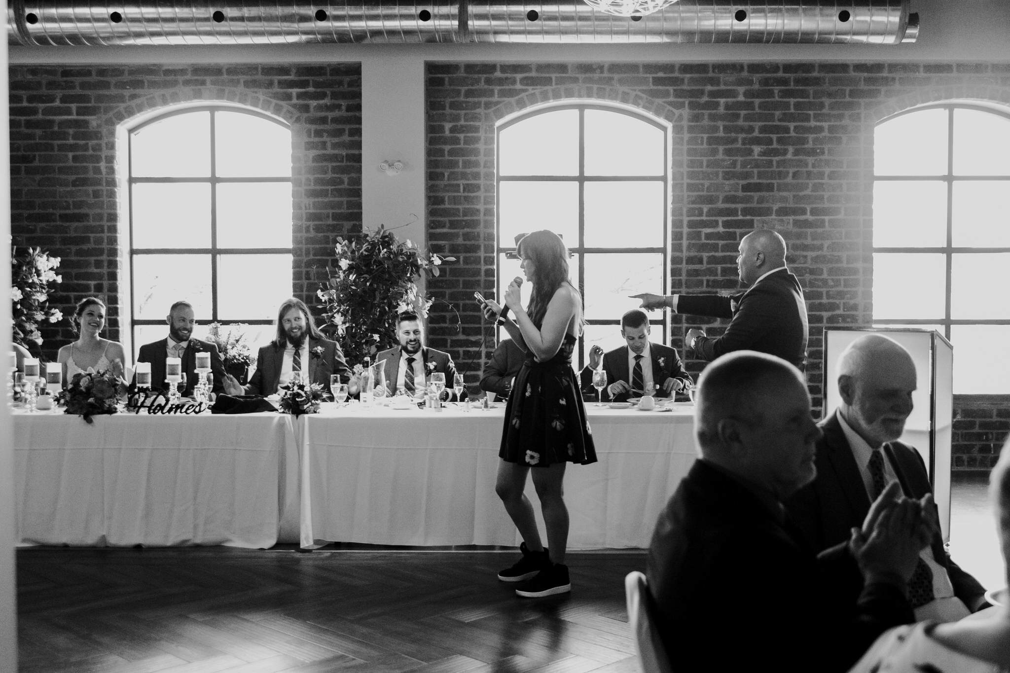 Brock Street Brewery Wedding - guest sings speech