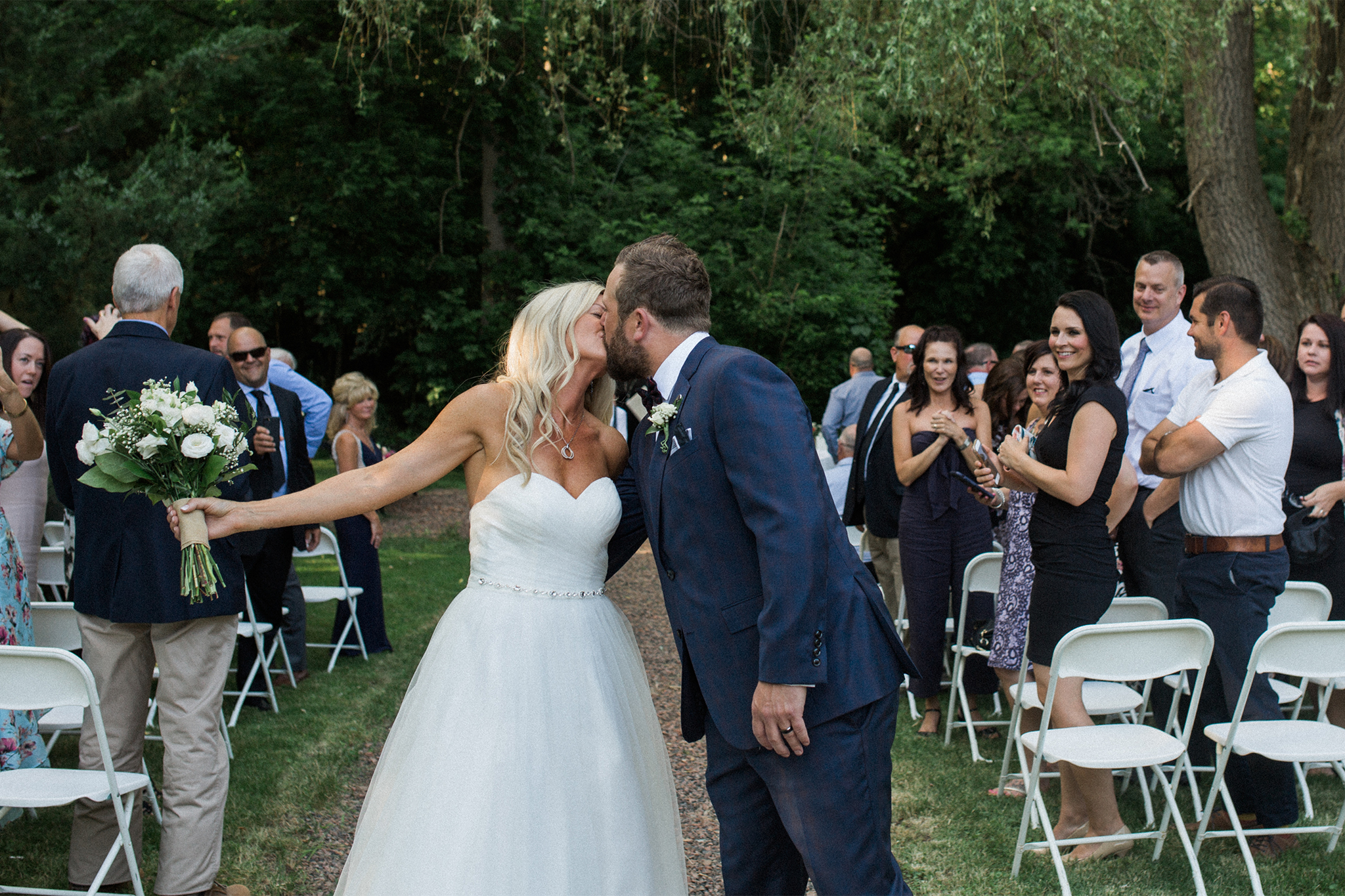 Harvest Restaurant Wedding Brooklin Ontario - Bride and groom kiss