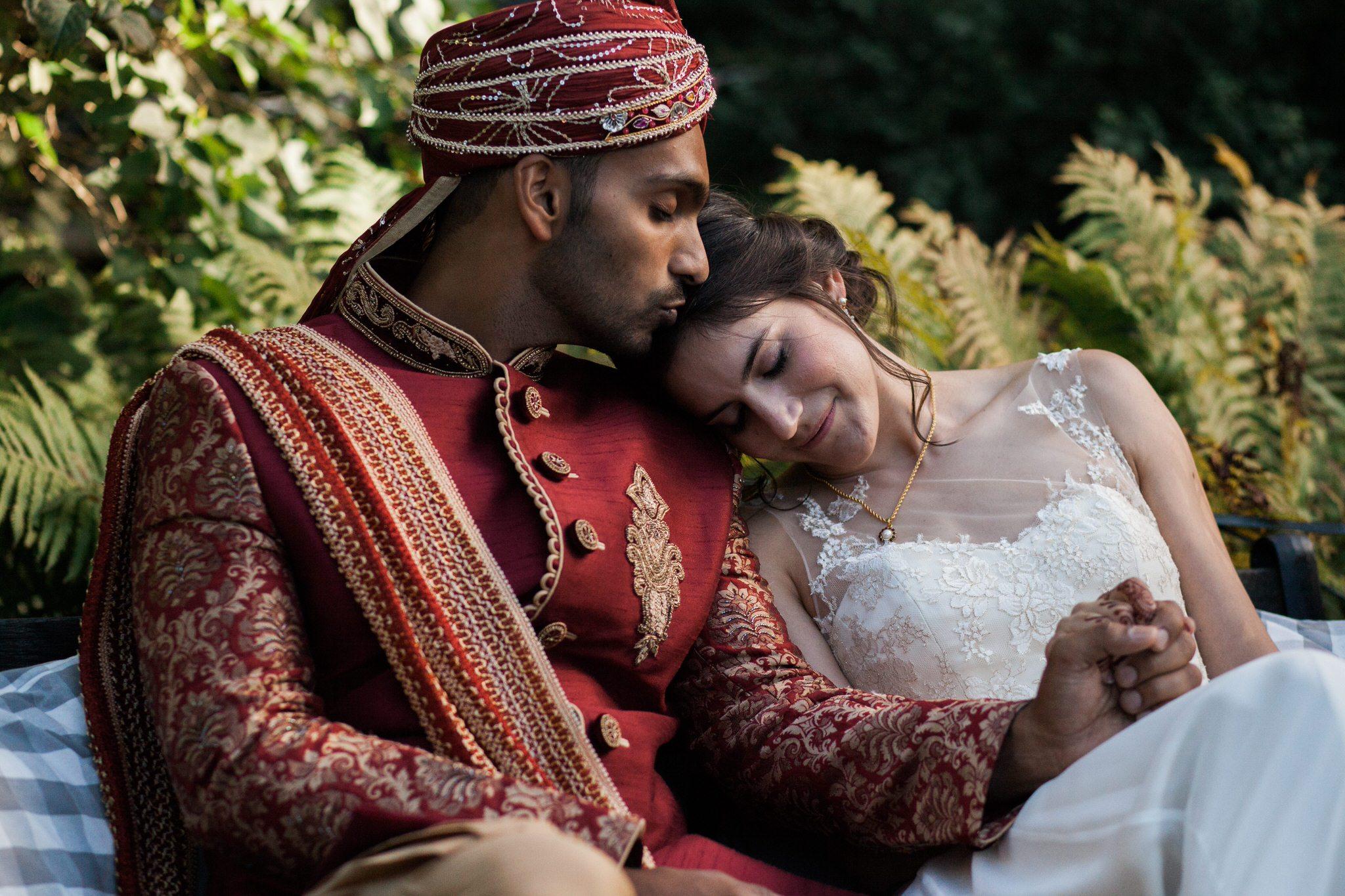 Northview Gardens Wedding - newlywed portrait - mixed hindu wedding