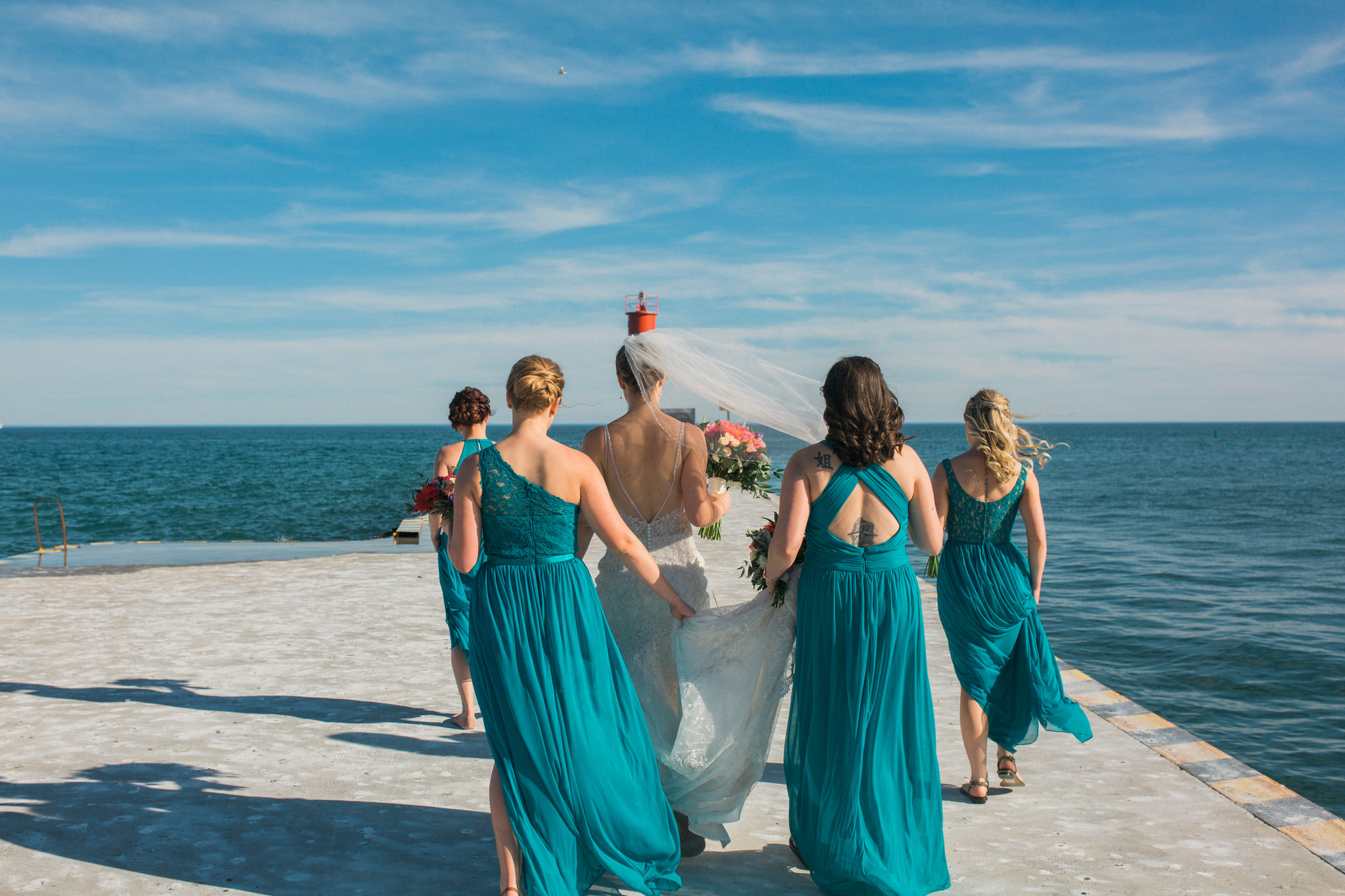 Brock Street Brewery Wedding - bridal party on the pier