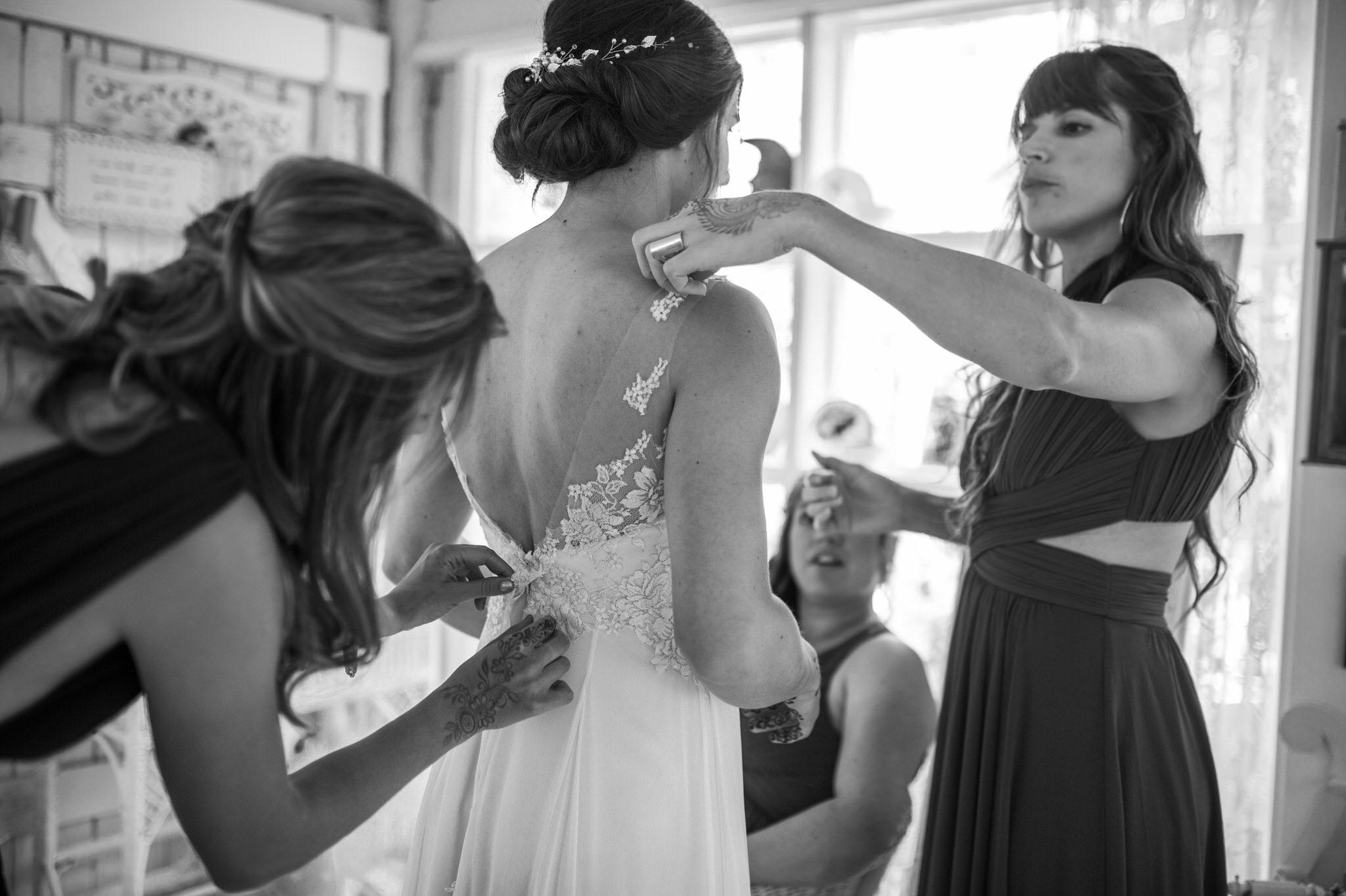 Northview Gardens Wedding - dressing the bride