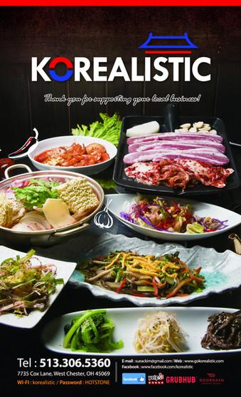 Korealistic Dinner Menu