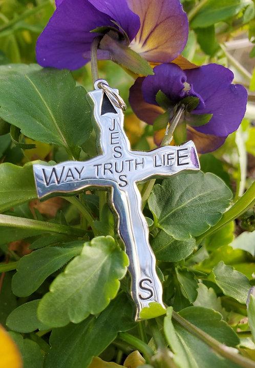 Silver Christian Compass Cross