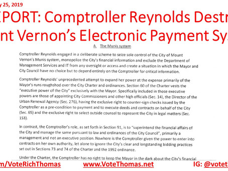 Mount Vernon's Electronic Payment System Compromised by Comptroller Reynolds
