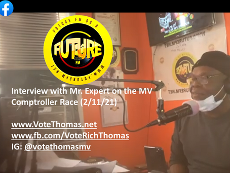Mr. Expert Sits Down with Mayor Thomas on the Mount Vernon Comptroller Race