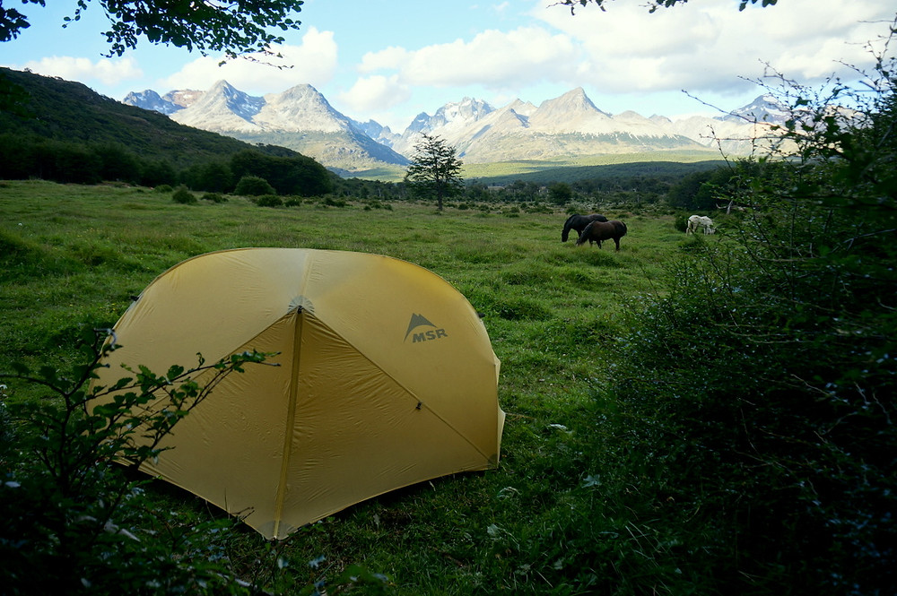 Tent in front of mountain range, Tierra del Fuego